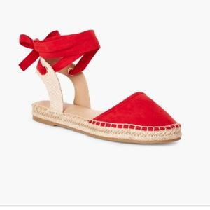 Just fab red / tan hemp flat slips ankle lace shoe